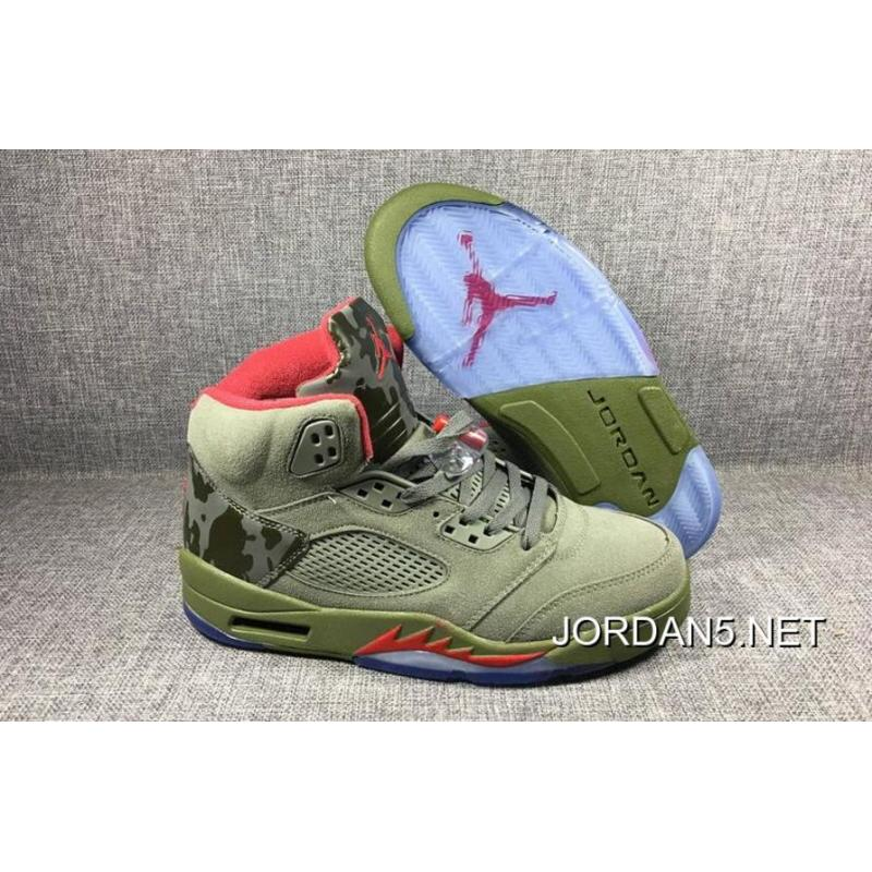"pretty nice 1f032 9ece4 Brand New Air Jordan 5 ""Camo"" Olive-Grey Fire Red Sale Cheap ..."