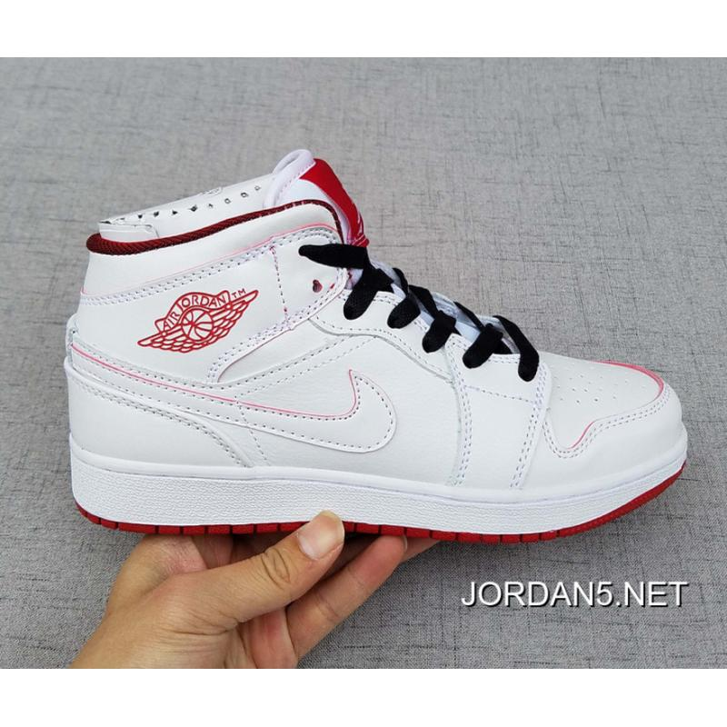 Air Jordan 1 Mid GS White/Gym Red/Black Best ...