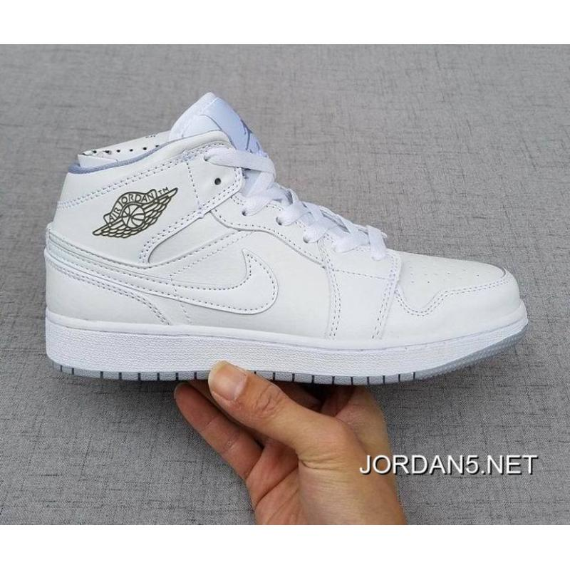 640425cb380 Discount Air Jordan 1 Mid GS White/White/Wolf Grey, Price: $79.87 ...