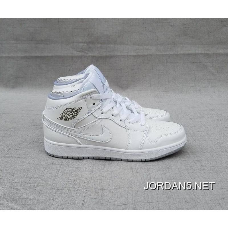 ... Discount Air Jordan 1 Mid GS White/White/Wolf Grey ...