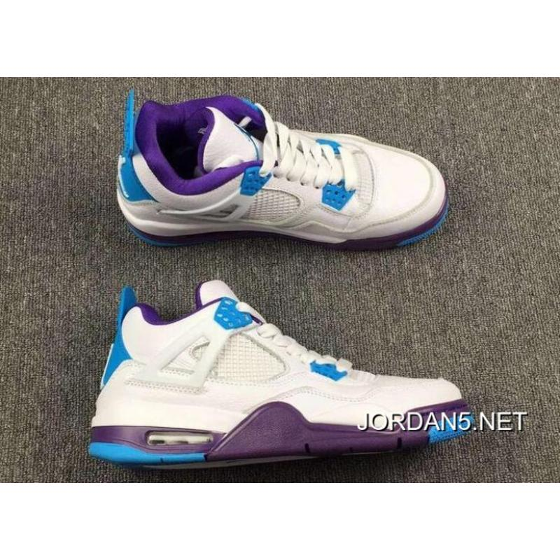 58ec481ea9ee good best air jordan 4 hornets white blue purple 61c3c cc64d