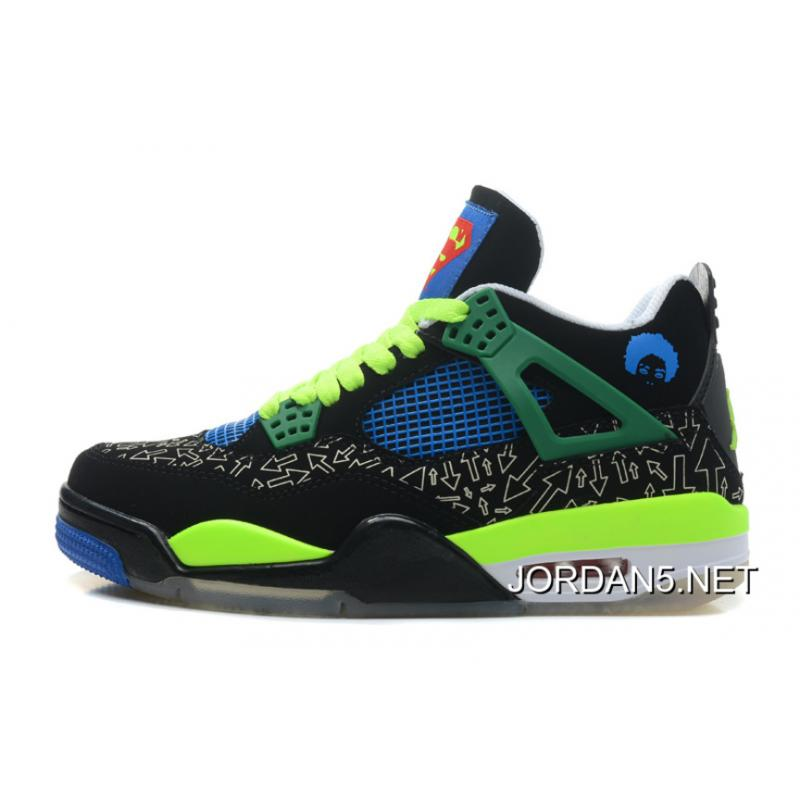 "ae94691c4b22 Air Jordan 4 Retro Doernbecher ""Superman"" BlackOld Royal-Electric Green ..."