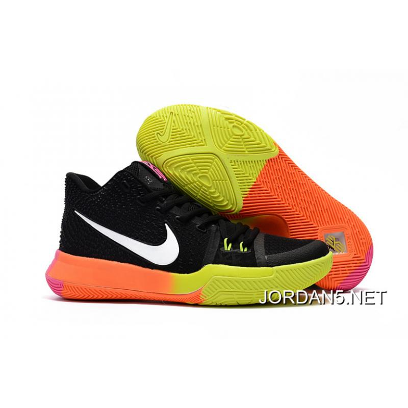 best service 7b92a a8a65 Girls Nike Kyrie 3 Black Colorful Volt Orange Pink Latest ...