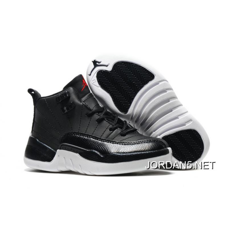 "fd6d5c5011f1 New Release Kids Air Jordan 12 ""Black Nylon"" Black White-Gym Red ..."