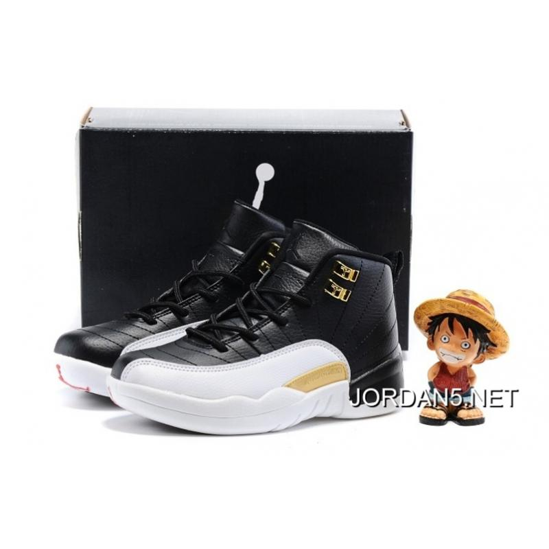 "separation shoes b0244 de6d1 ... Kids Air Jordan 12 ""Wings"" Black Metallic Gold-White New Release ..."