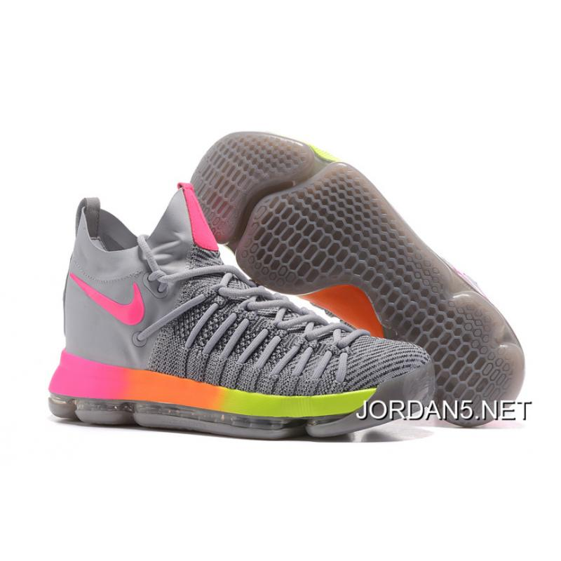 the best attitude e6edc 5188c Nike Zoom KD 9 Elite Grey/Pink-Orange-Volt For Sale