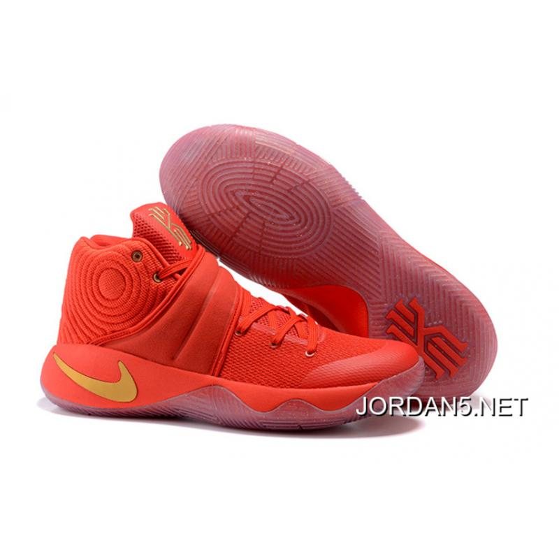 "c8227bddcdc Nike Kyrie 2 ""Gold Medal"" University Red/Metallic Gold New Year Deals ..."
