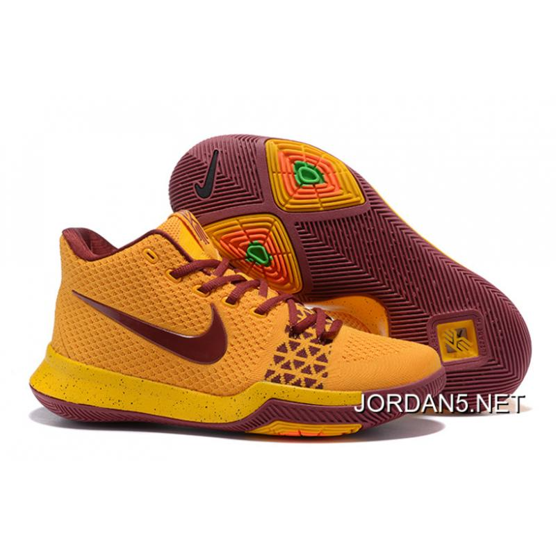 ... Sneakers Free Shipping Nike Kyrie 3 YellowWine Red .