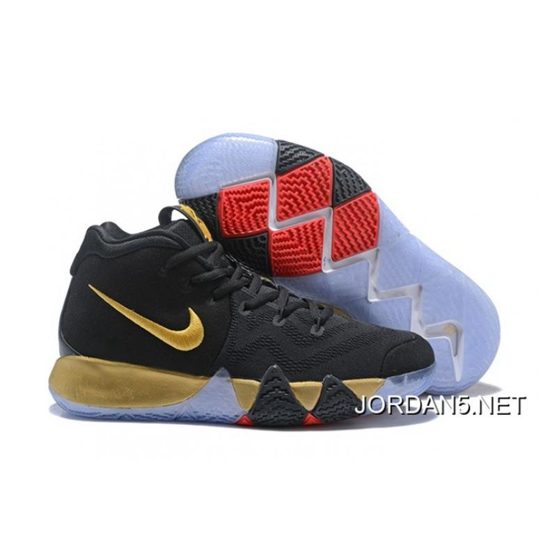 on sale f7a8b bfa16 Nike Kyrie 4 Black Gold Red For Sale