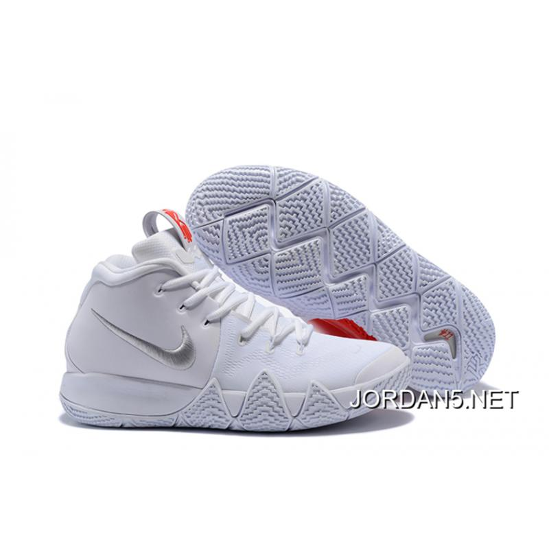 "buy popular 744e7 24262 Nike Kyrie 4 ""Half Heart"" White Silver Red New Year Deals ..."