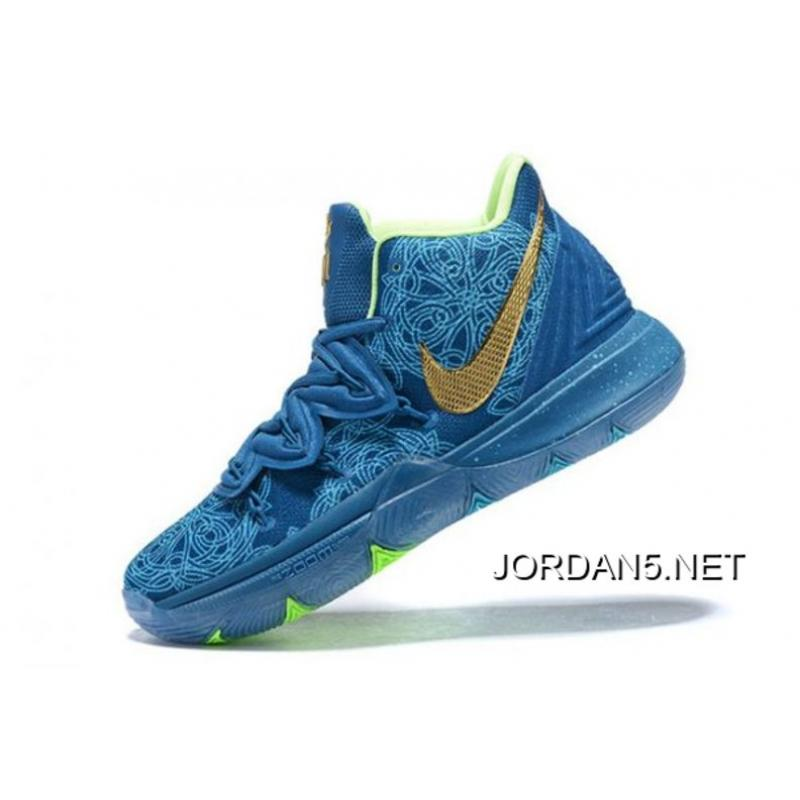 detailed look 2fe04 1388e For Sale Nike Kyrie 5 Blue/Green-Metallic Gold