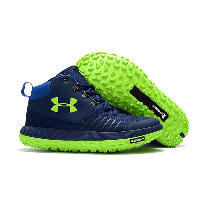 newest 578ce 7f69c New Year Deals Under Armour Fat Tire GTX Navy Blue/Green Hiking Boots Trail  Shoes