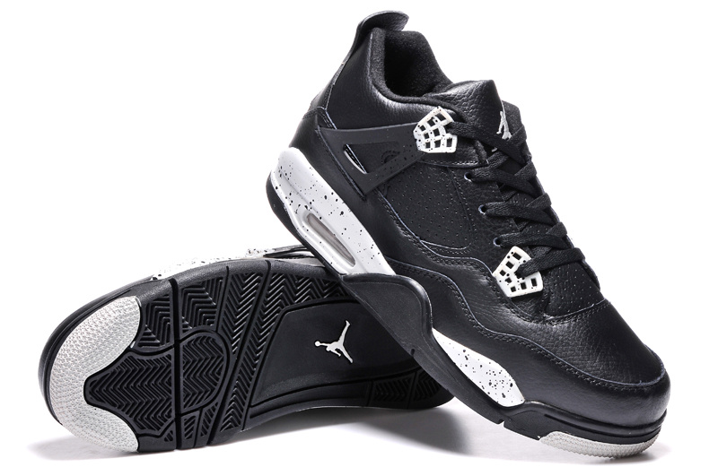 "sale retailer 4f2b5 9bd2b New Air Jordan 4 Retro ""Oreo"" Black Leather/White Speckle Outlet"