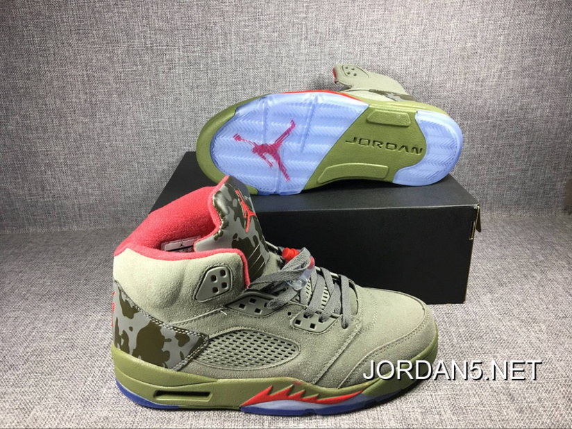 "super popular 9e015 d5a2c Brand New Air Jordan 5 ""Camo"" Olive-Grey/Fire Red Sale Cheap To Buy"