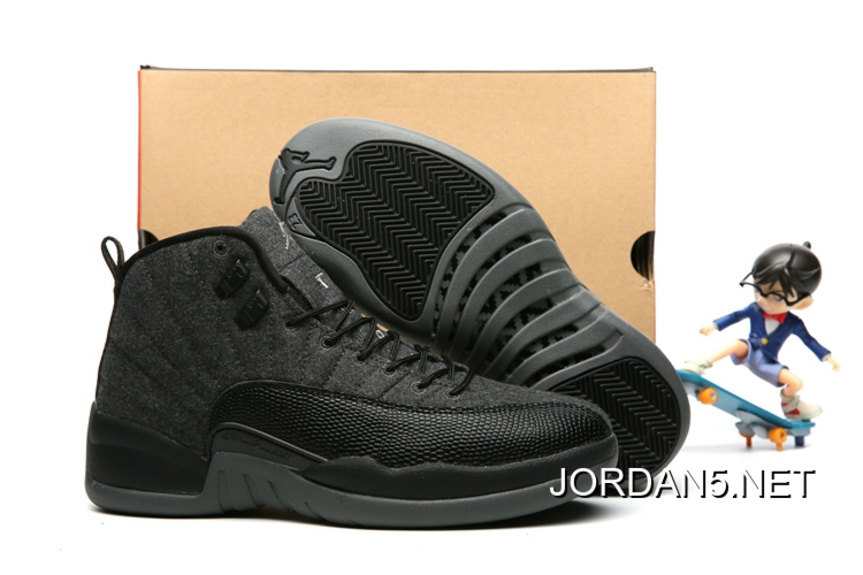 "Air Jordan 12 ""Wool"" Dark Grey Black Metallic Silver New Style"