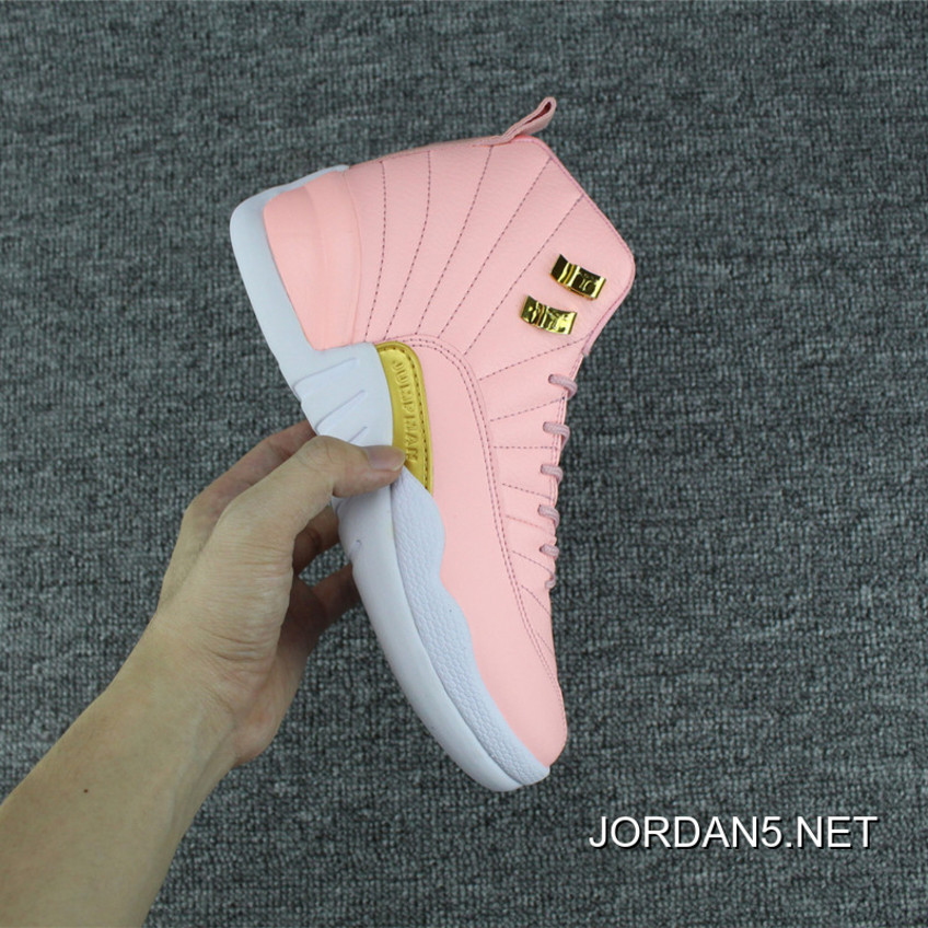 "3164d7332eb4e0 Super Deals Girls Air Jordan 12 GS ""Pink Lemonade"" Pink White-Gold ..."