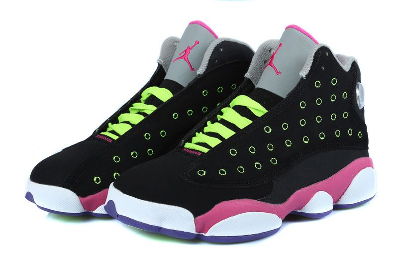 purchase cheap 48d39 b4d1d New Air Jordan 13 GS Black-Pink/Venom Green Discount, Price: $74.18 ...