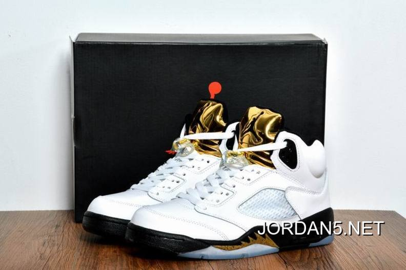 "size 40 b56fd 0dc1e Cheap To Buy Air Jordan 5 ""Olympic Gold Medal"" White Black-Metallic"