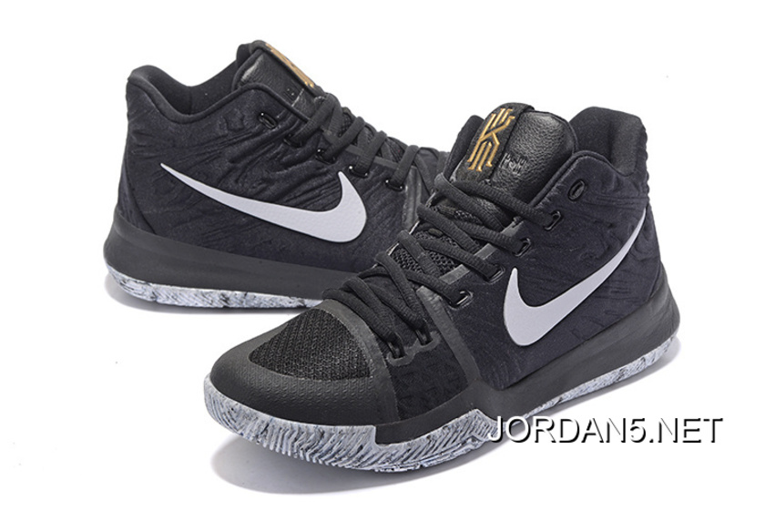 "ecddafd50737 Outlet Girls Nike Kyrie 3 ""BHM"" Black White-White"