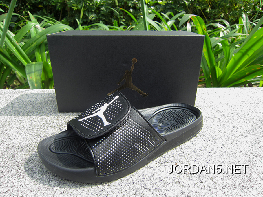 b01d5a960cb7ca WMNS Jordan Hydro V Retro Sandals Black White New Release