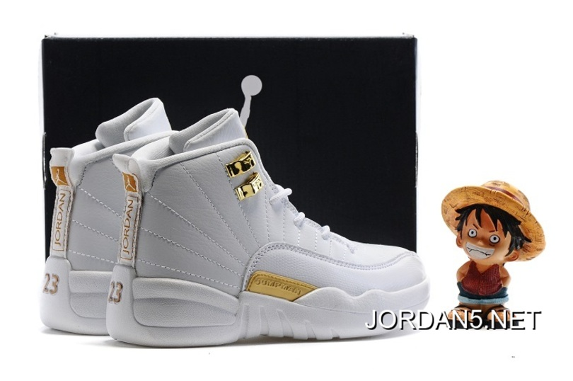 Top Deals Kids Air Jordan 12 All White Gold