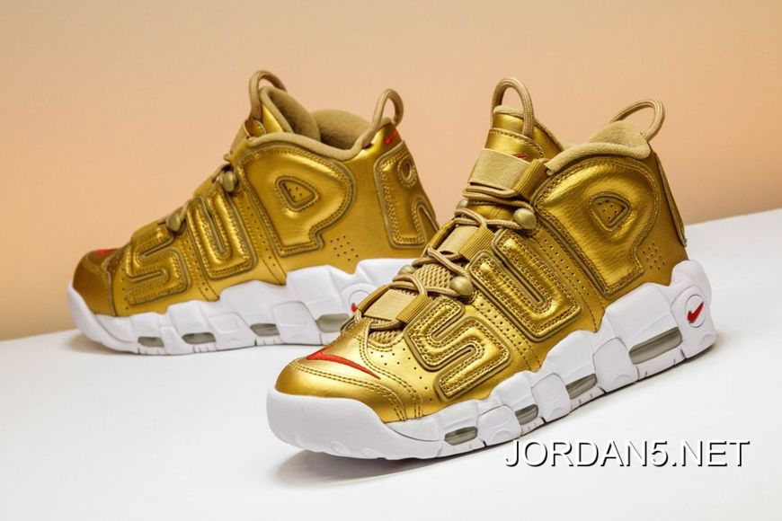 "Nike Air More Uptempo ""Supreme"" Metallic Gold White Sale Best 5e8df02de"