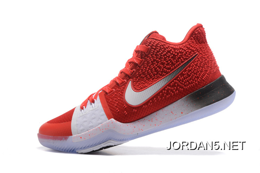Free Shipping Nike Kyrie 3 PE Red White Silver Basketball Shoes ... 53508e9bd