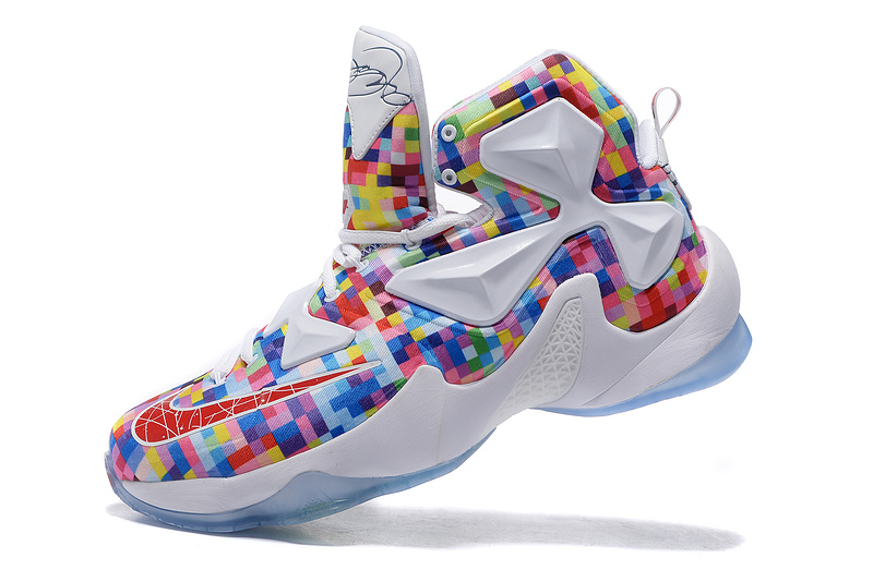 "sports shoes 670ed 77d16 Outlet Nike LeBron 13 ""Prism"" Multi-Color/University Red-White Basketball  Shoes"