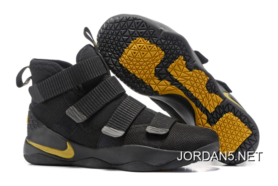 53abd80fc2b45 Nike LeBron Soldier 11 Black Golden Yellow Best